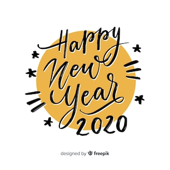Bonne année avec lettrage