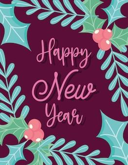 Bonne année, message houx berry laisse fête de célébration, design floral pour carte