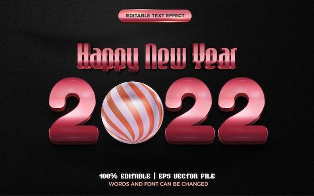 Bonne année modèle de style d'effet de texte modifiable en or rose motif de boule brillant 3d
