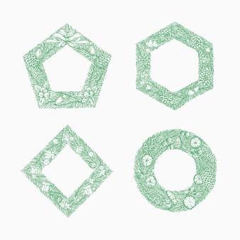 Bonne année noël croquis guirlande de pin signes logos bannières ou modèle de cadres