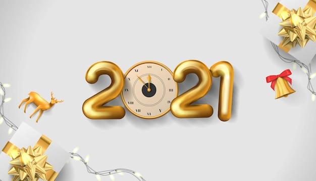 Bonne année nombre d'or réaliste avec fond de boîte cadeau