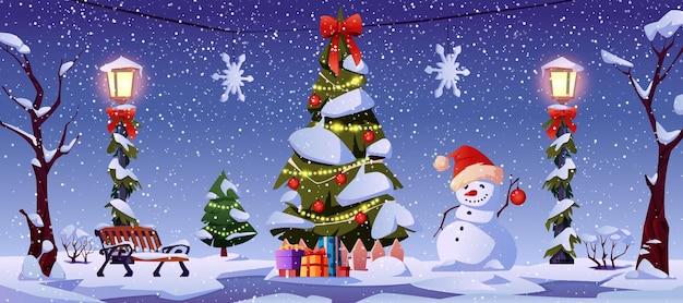 Bonne année nuit paysage de noël décorations de rue arbre de noël bonhomme de neige et lanternes