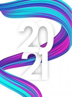 Bonne année. numéro de 2021 avec forme de trait de peinture colorée tordue.