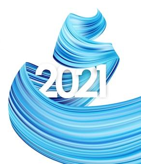 Bonne année. numéro de 2021 avec forme de trait de peinture de couleur bleue tordue. design tendance