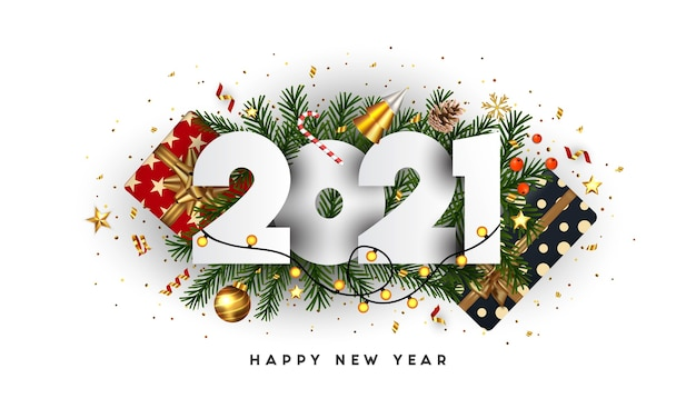 Bonne année, numéros 2021 sur les branches de sapin vert et ornements de vacances sur fond blanc. carte de voeux ou modèle d'affiche de promotion. .