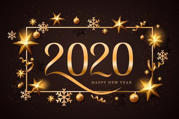 Bonne année or et fond noir avec décoration de noël