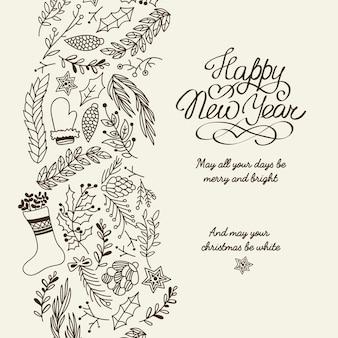 Bonne année salutations typographie conception carte postale doodle avec souhaite que tous vos jours soient illustration joyeuse et lumineuse