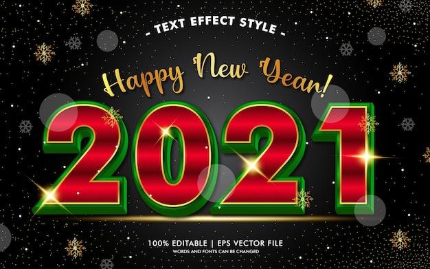 Bonne année avec le style des effets de texte d'or d'hiver