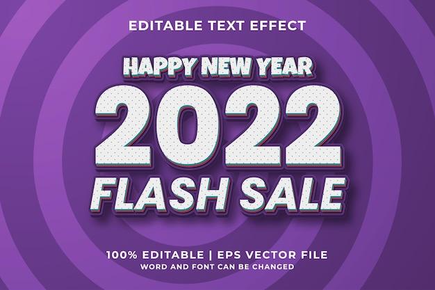 Bonne année vente flash effet de texte modifiable 3d vecteur premium