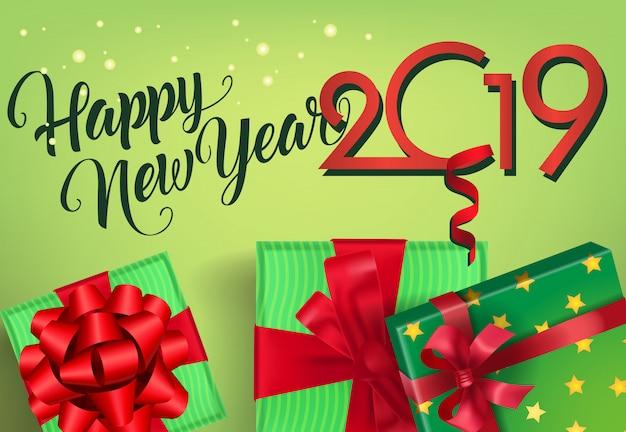 Bonne année vingt et dix-neuf conception de flyer