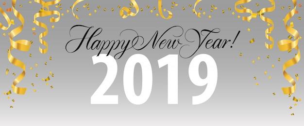 Bonne année, vingt-neuf lettres avec des banderoles en or