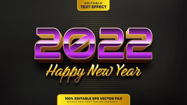 Bonne année violet or effet de texte modifiable 3d