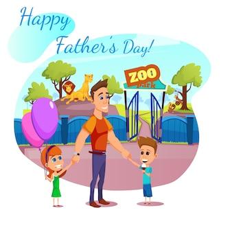 Bonne bannière de fête des pères, carte de voeux, parc du zoo