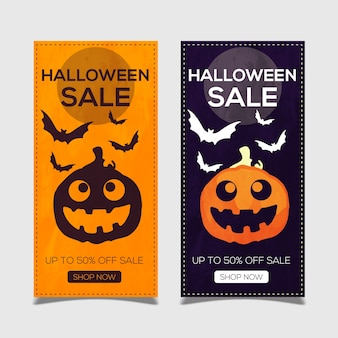 Bonne bannière d'halloween avec des citrouilles et des chauves-souris
