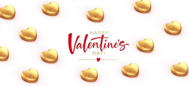 Bonne bannière de la saint-valentin, avec des chocolats dorés en forme de coeur