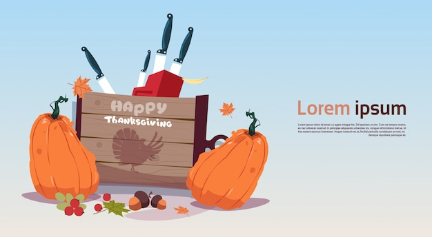 Bonne bannière de thanksgiving day. concept de récolte traditionnelle d'automne