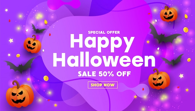 Bonne bannière de vente halloween avec des chauves-souris