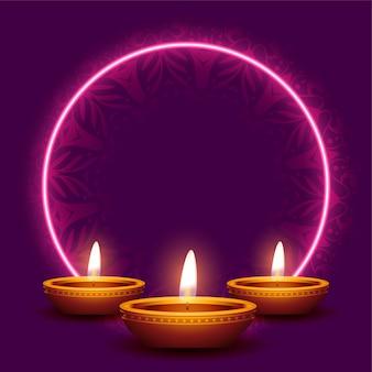 Bonne carte de diwali avec cadre néon