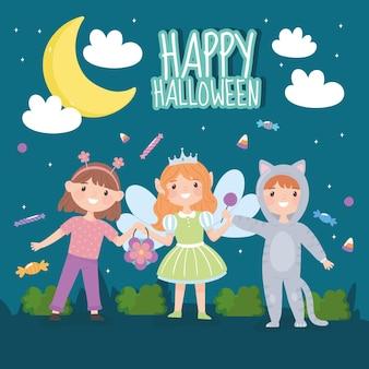 Bonne carte d'halloween, enfants avec costumes