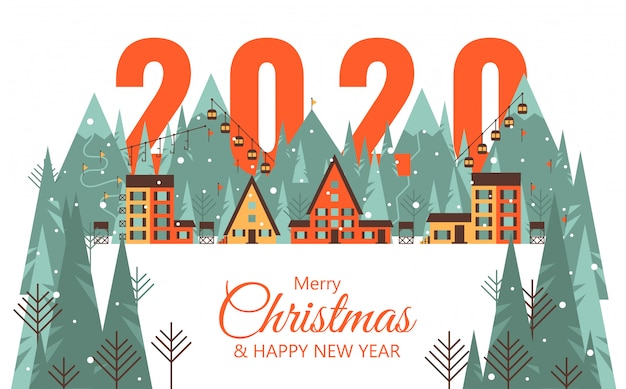 Bonne carte de nouvel an 2020 avec la ville de montagne