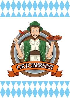 Bonne carte oktoberfest avec homme allemand mangeant des saucisses
