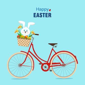 Bonne carte de pâques avec le vélo.