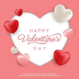 Bonne carte de saint valentin avec des coeurs