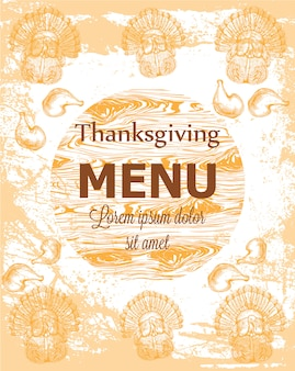 Bonne carte de thanksgiving avec dinde et citrouilles