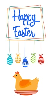 Bonne carte de voeux de bannière de vacances de pâques