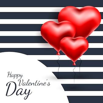 Bonne carte de voeux saint valentin avec des ballons de coeur