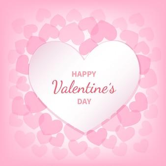 Bonne carte de voeux saint valentin avec des coeurs blancs et roses. l'inscription au milieu. symbole d'amour romantique festif. illustration.