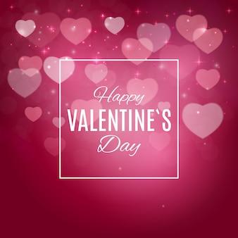 Bonne carte de voeux saint valentin avec des foyers roses