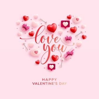 Bonne carte de voeux saint valentin avec le symbole du coeur des éléments de la saint-valentin sur rose