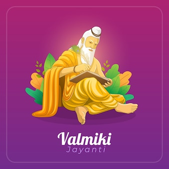 Bonne Carte De Voeux Valmiki Jayanti Vecteur Premium