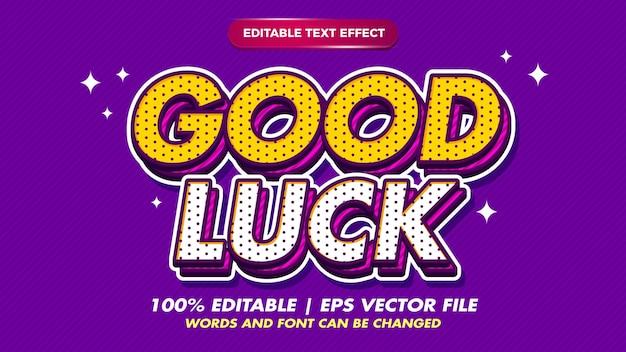 Bonne chance pop art rétro style d'effet de texte modifiable pour l'ancien style