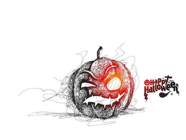 Bonne citrouille d'halloween, conception de vecteur de croquis dessinés à la main.