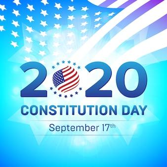 Bonne constitution des états-unis ou jour de la citoyenneté 2020, 17 septembre - illustration avec le drapeau des états-unis et l'insigne d'étoiles.
