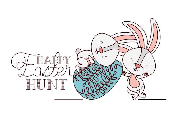Bonne étiquette de chasse de pâques avec icône de lapin