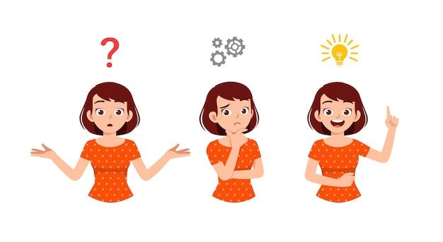 Bonne femme à la pensée et recherche de processus d'idée