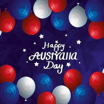 Bonne fête de l'australie avec décoration d'hélium de ballons
