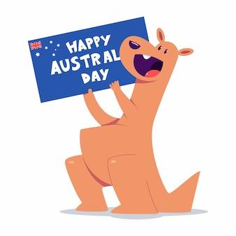Bonne fête de l'australie avec des personnages kangourous mignons isolés sur fond blanc.