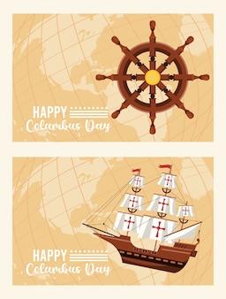 Bonne fête de columbus day avec gouvernail de bateau et caravelle.