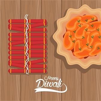 Bonne fête de diwali avec plat de nourriture et feux d'artifice en illustration vectorielle de fond en bois
