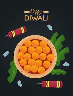 Bonne fête de diwali avec plat de nourriture et fusées de feu d'artifice