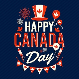 Bonne fête du canada avec des ballons et un chapeau