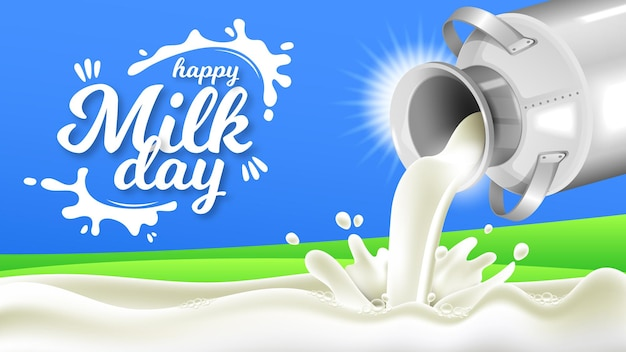 Bonne fête du lait avec des bidons de lait réalistes
