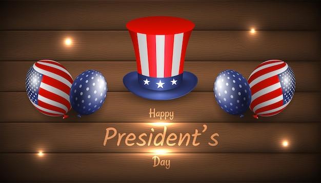 Bonne fête du président avec un chapeau et un ballon oncle sam réaliste