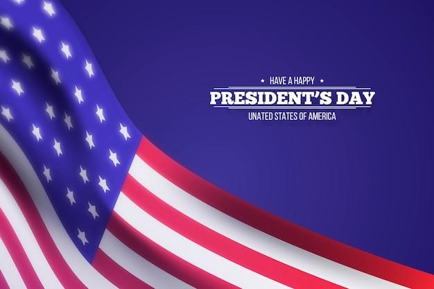 Bonne fête du président avec un drapeau flou réaliste