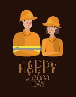 Bonne fête du travail carte avec couple de travailleurs