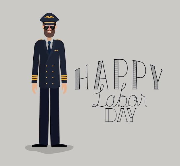 Bonne fête du travail carte avec pilote